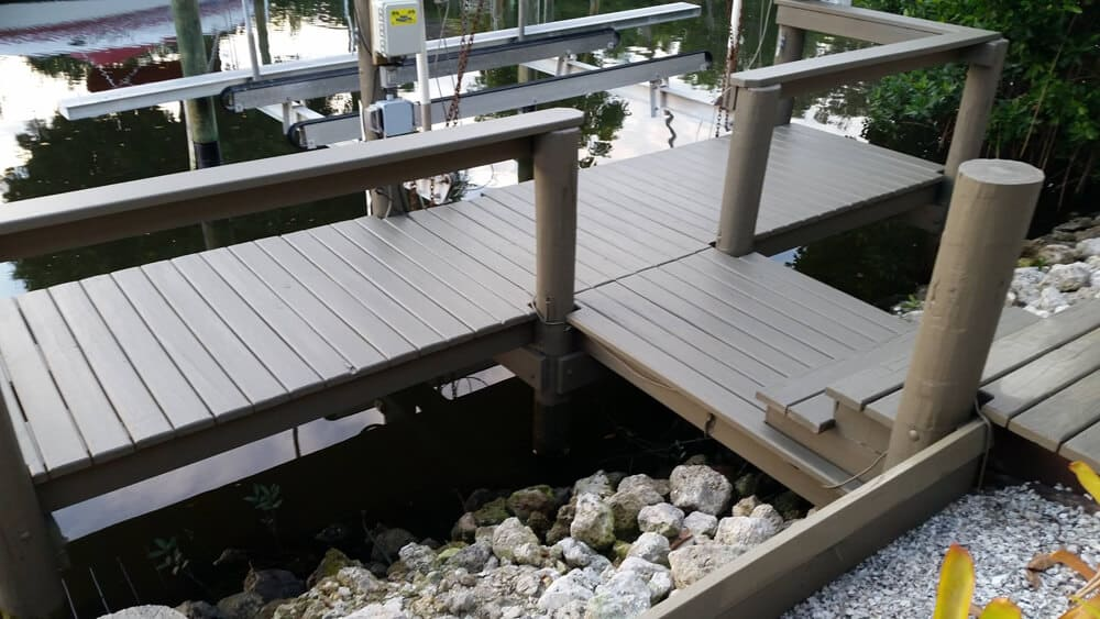 exterior painted wood dock