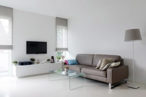 modern white living room with epoxy floor